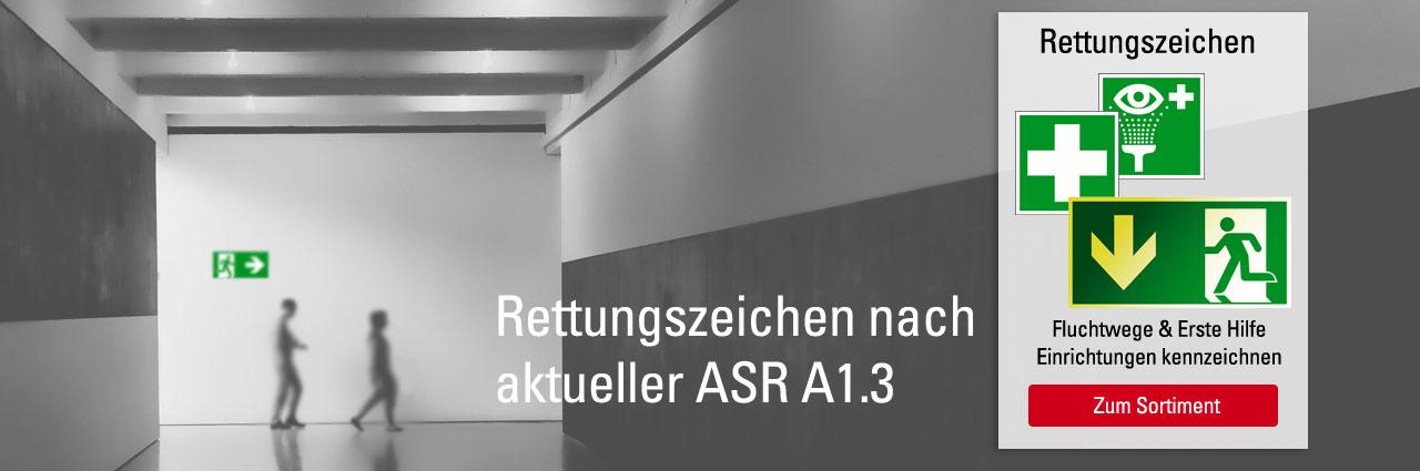 Rettungszeichen nach aktueller ASR A1.3